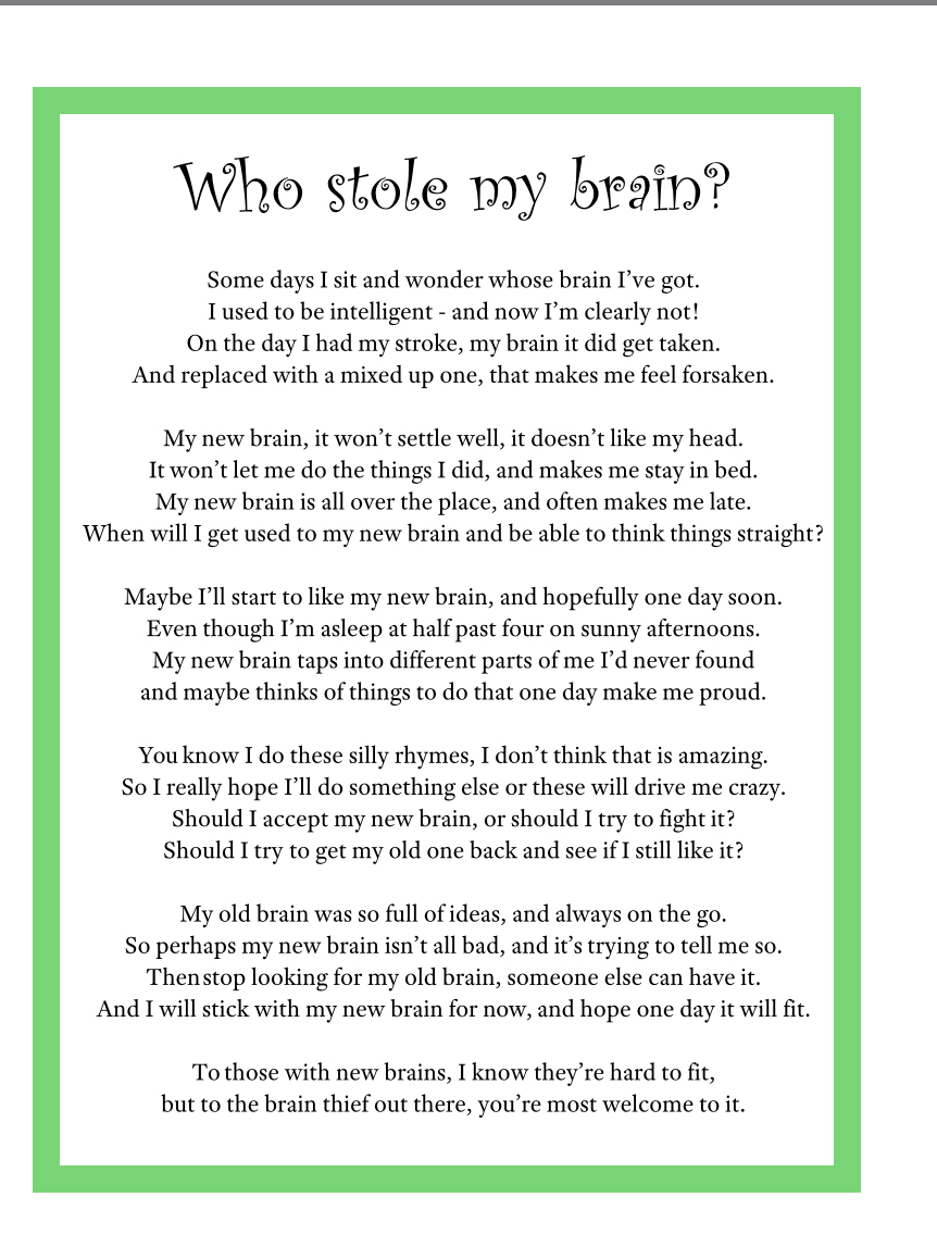 Who Stole my Brain poem
